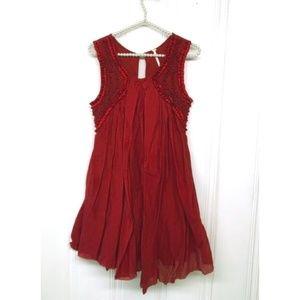 Free People Sleeveless Burgundy Raw Hem Dress